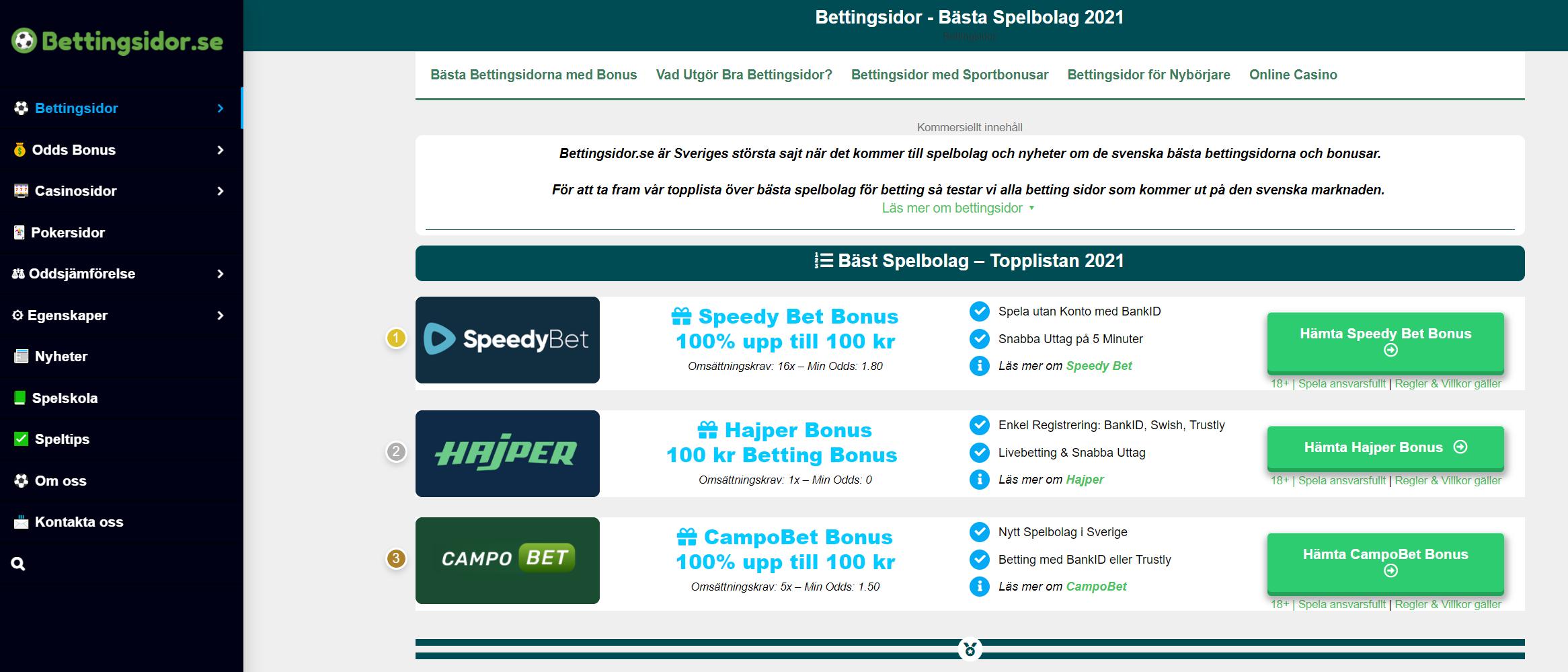 Bettingsidor med bonus extra 64138
